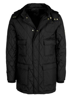Slim fit transitional jacket with detachable hood