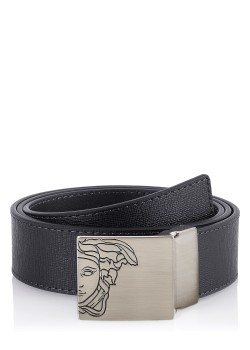 Versace belt with textured black leather