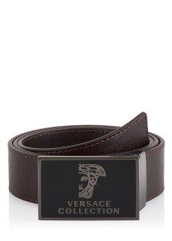 Versace belt with textured brown leather