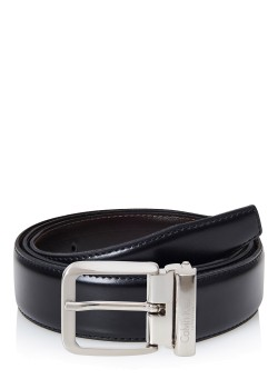 Calvin Klein smooth leather reversible belt black-brown