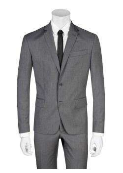 Pierre Balmain suit slim fit pinstriped dark gray