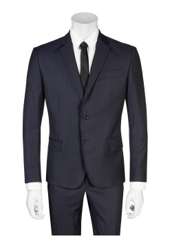 Pierre Balmain suit slim fit pinstriped dark blue