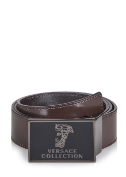 Versace belt with smooth brown leather