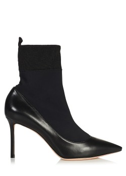 Jimmy Choo Black Nappa Leather and Stretch Fabric Sock Ankle Boots
